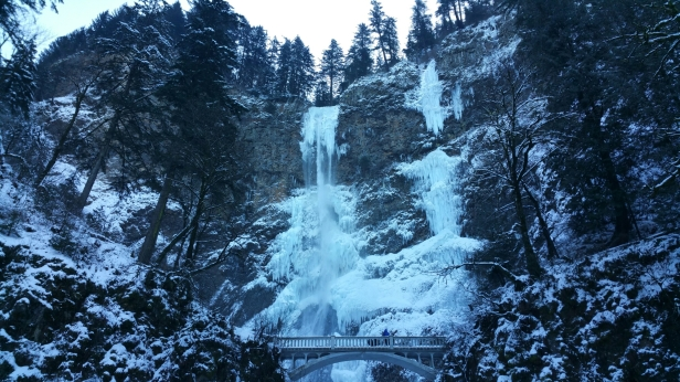 Multnomah Falls that are frozen from the cold winter